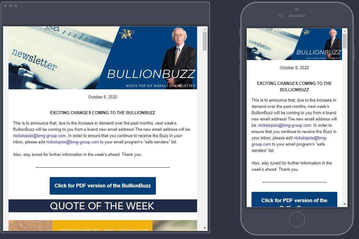 Subscribe to the BullionBuzz | Nick's Top Six eNewsletter